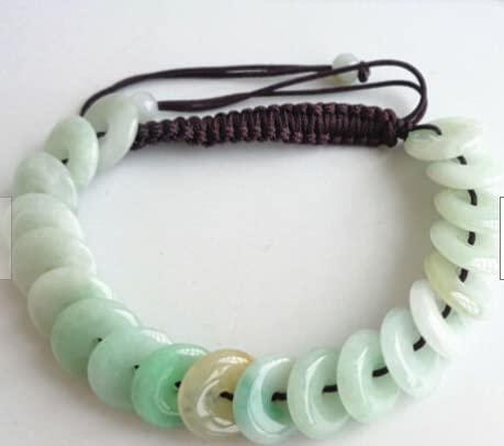 YUNHE Pulsera de Cuentas Circulares Tejidas a Mano de jadeíta de Jade Natural de 3 Colores
