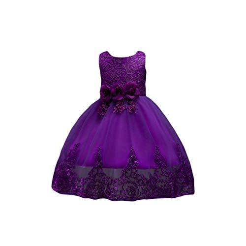 LvRao Mädchen Blumenkleid Bow Tie Kinder Prinzessin Partykleid Tüll Brautkleider Spitze Ballkleid (Lila, 110)