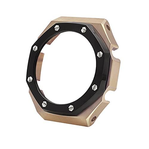 FAAGFC Montaje de modificación de reloj GA-2100 caja de reloj de acero inoxidable correa de metal modificación caja AP caso (color: círculo negro rosa, diámetro de la esfera: GA 2100)