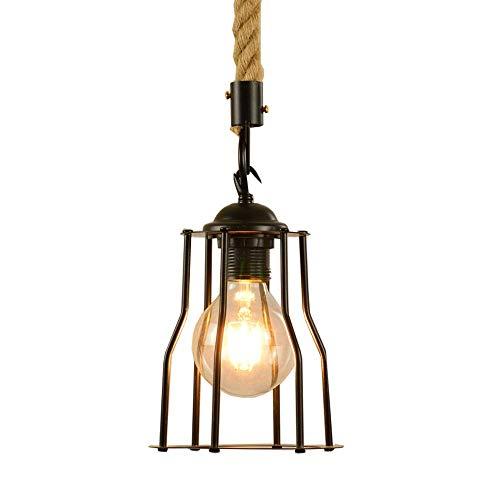 WEM Lámpara colgante de techo retro de estilo americano, lámpara colgante rústica con pantalla de metal en forma de jaula negra, accesorio de iluminación de suspensión vintage para entrada, sala de e