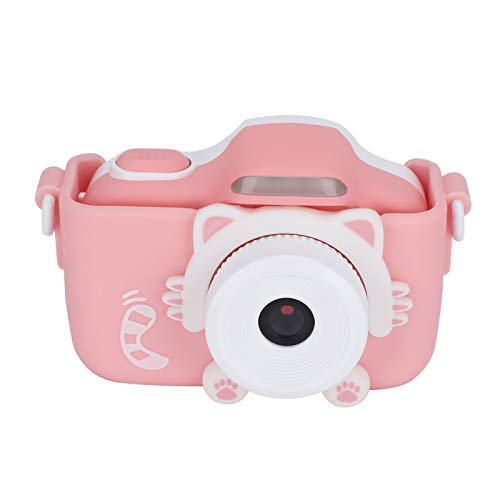 Cámara para niños, pequeña cámara multifunción digital IPS pantalla táctil WIFI 48MP con funda de silicona para tomar fotos(Pink)