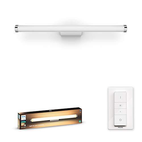 Philips Hue Adore Aplique Inteligente LED blanco para baño con Bluetooth (1750lm), Luz Blanca de Cálida a Fría, Compatible con Alexa y Google Home