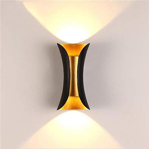 LED Wandleuchte Auf Und Ab Innenwandleuchte Moderne Aluminiumlegierung Schmiedeeisen Lampe, Geeignet Für Schlafzimmer Wohnzimmer Flur Küche, Warmes Weißes Licht (Color : Schwarz)
