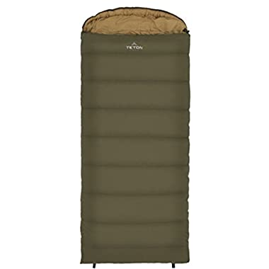 Teton Sports Celsius Regular -18C/0F Sleeping Bag; 0 Degree Sleeping Bag Great for Cold Weather Camping; Lightweight Sleeping Bag; Hiking, Camping; Green, Right Zip