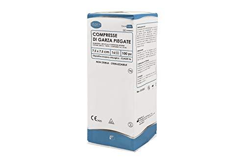 DEALFA Compresse di Garza Piegata. Garza Idrofila di Puro Cotone 100% per la Medicazione. Prodotto Monouso - cm 7,5x7,5 a 16 strati - Confezione da 100 pezzi