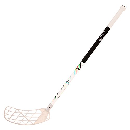 ACCUFLI Floorball Stick AirTek A80 Youth Left Stick Length 36inch Curved Blade (White)