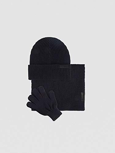 Trussardi Jeans Set van wolmengsel met muts sjaal en handschoenen heren marineblauw