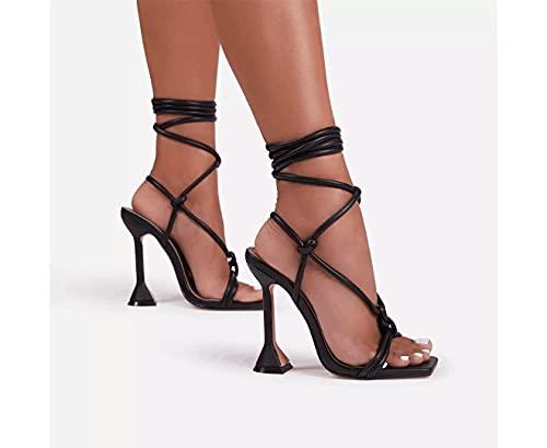 ZQ&QY Beige, Rose redsummerthenewdomen Estate Caviglia Cinturino Sandali Signore Sottili Tacchi Alti Partito Vestito Scarpe Femmina Moda Sexy Sandalo 36-42,Nero,36