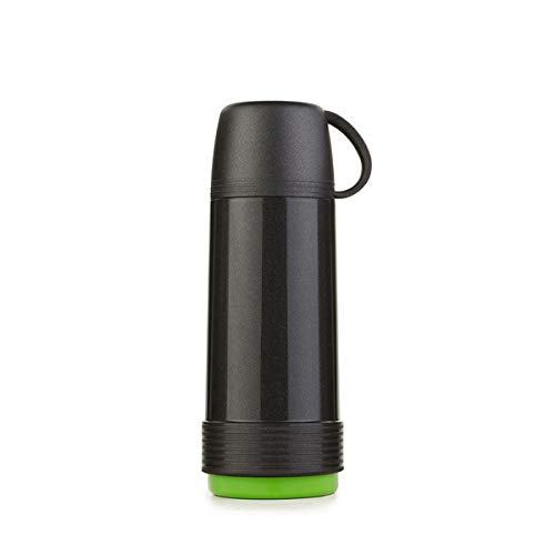 Valira Proterm Termo para líquidos de 0,75 L con Botella de Vidrio Aislante de Doble Pared Hecho en España, Color Negro-Verde, térmica