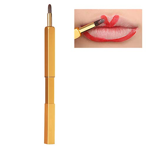 Beito Lippenpinsel 1 STÜCK Versenkbare Lippenpinsel Reise Lippenstift Glanz Applikator Tragbare Make-Up Pinsel Werkzeug Mit Kappe Premium Nylonhaar Lippenpinsel Für Frauen Mädchen (Golden)