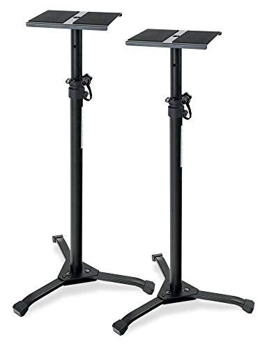 2er Set Pronomic SLS-20 Studio Monitor Stativ faltbar - klappbare Füße - höhenverstellbar von 75 cm bis 130 cm - Ablagefläche mit Moosgummistreifen - schwarz