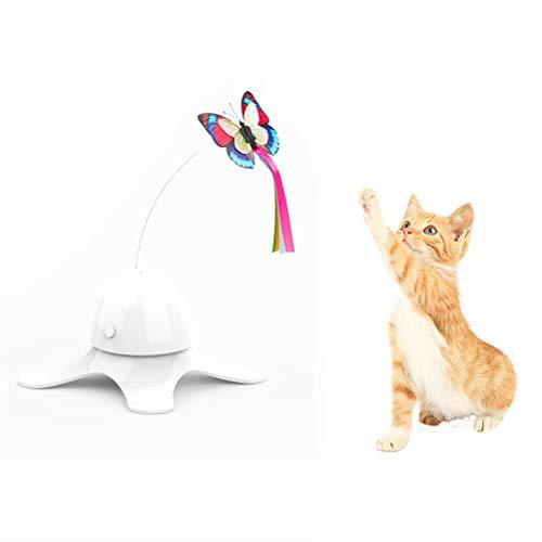 Yuciya Interaktives Katzenspielzeug Elektrische Drehen Schmetterlinge Spielzeug mit Zwei Ersatz Blinkende Schmetterlinge Spinning Teaser Spielzeug