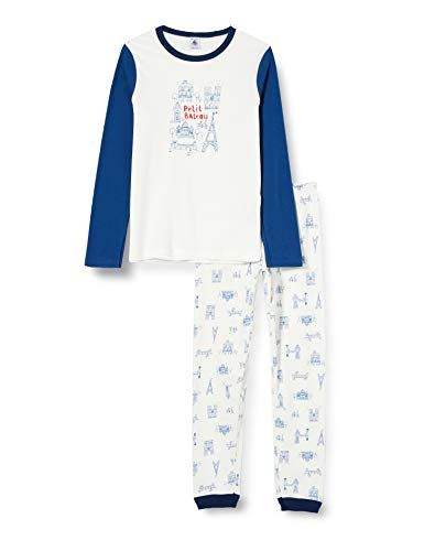 Petit Bateau 5606401 Pyjama, Motiv Paris Petit Jungen an der Seite Gr. 12 Jahre, Marshmallow/Blau/Mehrfarbig