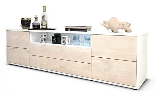 Stil.Zeit TV Schrank Lowboard Aurora, Korpus in Weiss matt/Front im Holz-Design Zeder (180x49x35cm), mit Push-to-Open Technik und hochwertigen Leichtlaufschienen, Made in Germany