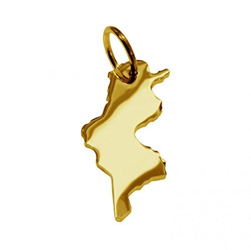 Anhänger Gold 585 Landkarte TUNESIEN - Damen Herren Kettenanhänger in massiv Gelbgold