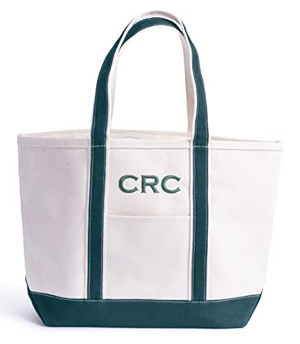 Bolsa Lona Tote Bag * PERSONALIZABLE con bordado * Ultraresistente * Playa, Barco, Campo, Picnic, Oficina, Viaje * 100% Algodón 20 oz canvas (680 g/m2) * 45x15x30 cm (Verde)
