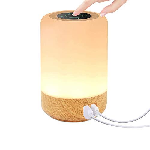 Luz Nocturna LED Táctil, otumixx Lampara Mesilla de Noche Hay 4 Puertos USB, Colores Cambiable RGB, Regulable Luz de Mesa para Niños, Dormitorio, Cámping
