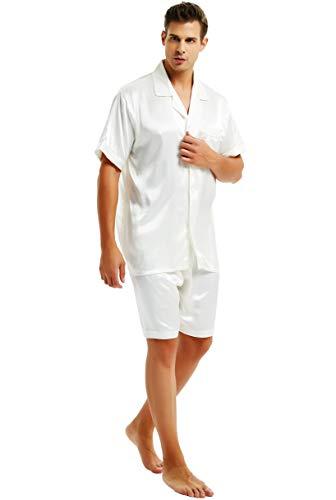 Herren Seide Schlafanzug Kurz Weiß X-Large
