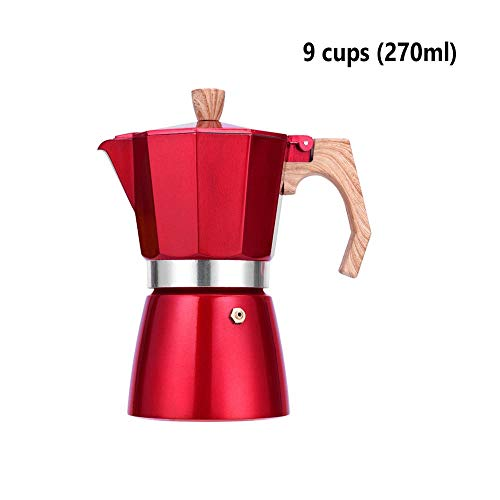Best Price Bac bac 3 cups 6 cups 9 cups, red aluminum espresso machine/espresso pot/moka pot/coffee ...