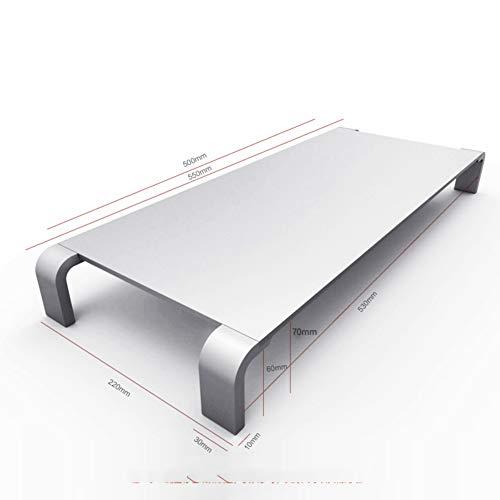 Aluminium Monitor Standaard, Premium Opslag Organizer Toetsenbord Muis Ondersteuning Tot 30 kg Home Office Business 55x22x7.4cm(22x9x3inch) zilverkleurig.