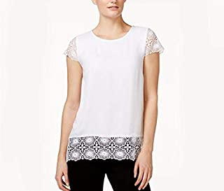 Kensie Short-Sleeve Lace Contrast Top White