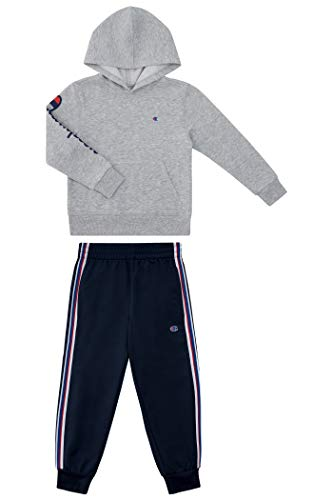 Champion Boys Two Piece Athletic Fleece Top Tricot Bottom Set Kids Clothes (Oxford Heather-Navy Tricot Pant, numeric_4)