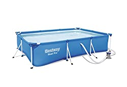 Water capacity (90%): 3, 300 L (872gal.) Easy set up Rust-resistant metal frames - heavy-duty PVC and polyester 3-ply side walls Flow control drain valve for easy draining valve attaches to garden hose so water can be drained away from the pool area ...