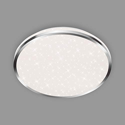 Briloner Leuchten - LED Deckenleuchte, Badleuchte, Badlampe inkl. Sternendekor, IP44, 18 Watt, 1.800 Lumen, 4.000 Kelvin, Chrom-Weiß, 330x66mm (DxH)
