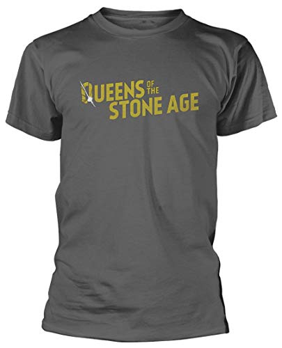 opie Queens of The Stone Age 'Gold Logo' T-Shirt - New & a!