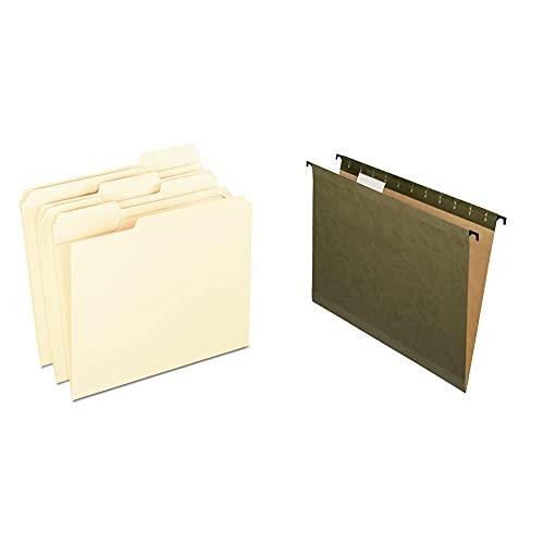 Pendaflex Reinforced Tab File Folders, Letter Size, Manila, 1/3-Cut, 100 Per Box (R752 1/3) & SureHook Reinforced Hanging Folders, Letter Size, Standard Green, 20 per Box (6152 1/5)