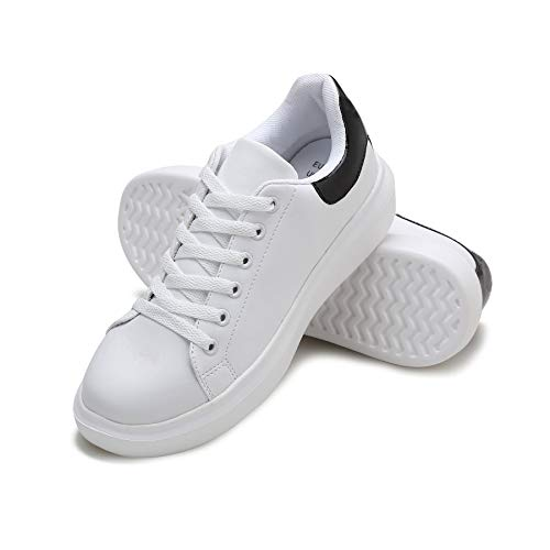 DASENGYE White Non Slip Walking Shoes Women, Lace Up Platform Leather Women's Fashion Sneakers Casual Tennis Shoe Black 11