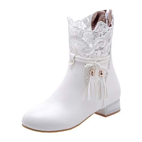 LUXMAX Damen Flache Ankle Boots mit Spitze Reißverschluss Fransen Hochzeit Braut Schuhe(Weiß 41)