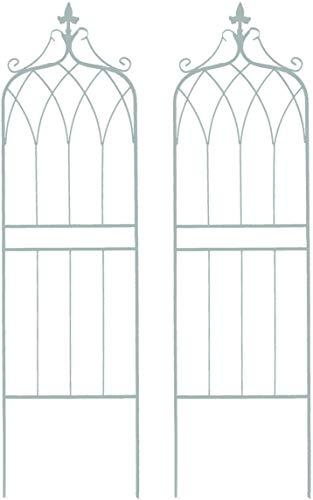 アイアンフェンス ガーデンフェンス トレリスフェンス 2枚セット ホワイト 白 高さ148 おしゃれ アンティーク調 ヨーロピアン調 エレガント クラシカル 重厚感 上下分割可能 ガーデニング (ホワイト, ロータイプ 2枚組)