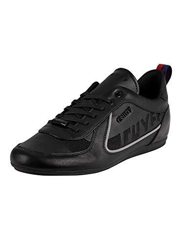 Cruyff de los Hombres Zapatillas Nite Crawler de Cuero, Negro