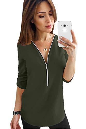JIER Damen Chiffon V-Ausschnitt Bluse Elegante 3/4 Arm Tunika Winter T-Shirt Tops Shirt Oberteile Herbst Langarmshirts mit Reißverschluss (GrüN,XXX-Large)