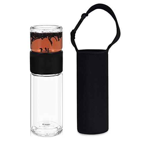 Navaris Botella de Cristal de borosilicato para te - Botella con Filtro de Acero Inoxidable Tapa de Vidrio y Funda Antideslizante - 240ML
