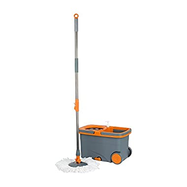 Casabella Spin Cycle Mop with Bucket – Graphite/Orange