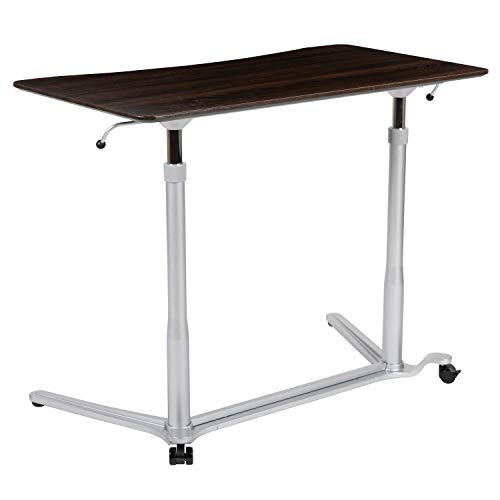 Flash Furniture Sit-Down, Stand-Up Dark Wood Grain Computer Ergonomic Desk with 37.375'W Top (Adjustable Range 29' - 40.75')