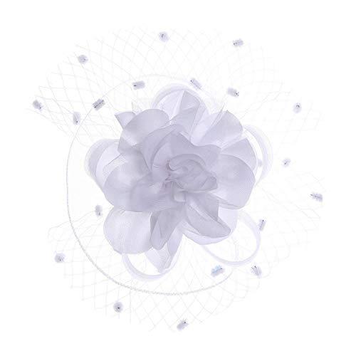 FHKGCD Sombrero Fascinator Slido con Pinzas para Mujer Accesorios para El Cabello Velo Flor Tapa Superior Pinzas para El Cabello Horquillas Fiesta De Cctel, Blanco,