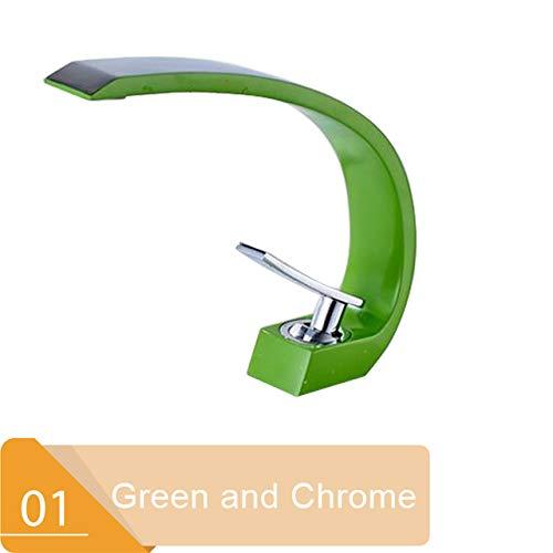5151BuyWorld waterkraan, chroom, oranje, voor badkamer, wastafel, brug, meubels, wastafel, kraan, eenvoudig gat, warm, koud water, kraan, gratis verzending Chrome And Green