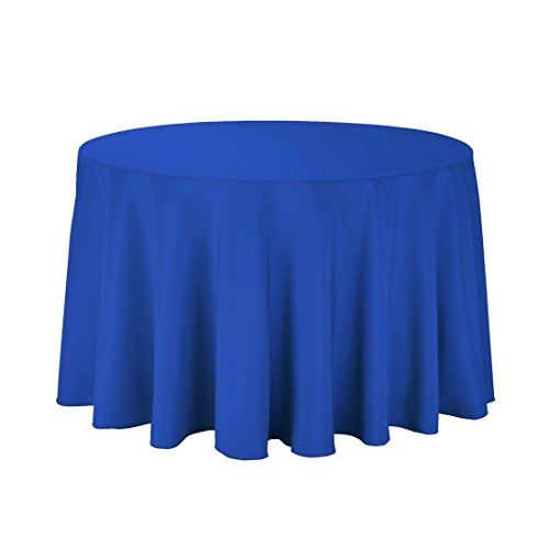 Gee Di Moda Tablecloth - 108' Inch Round Tablecloths for Circular Table Cover in Royal Blue Washable Polyester - Great for Buffet Table, Parties, Holiday Dinner & More