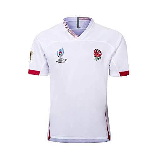 Camiseta de Rugby -2019 Copa del Mundo de Rugby de Inglaterra hogar lejos Camiseta de fútbol, los Hijos Adultos de Deportes del Juego de Entrenamiento de fútbol (Color : White, Size : S)