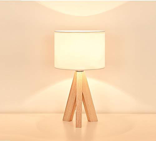 Lámpara de Mesa LED Lámpara de Cama de Madera Lámpara de Noche Home Deco para Sala de Estar Dormitorio Lamparas de Mesa para El Dormitorio Lámpara clásica (Lampshade Color : White)