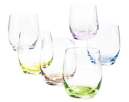 6 Verres à Eau/Whisky/Cocktail en Cristal de Couleur - Service Color 30 cl - 6 Couleurs Pastels Assorties - Maison Klein - Artisan du Cristal - Estampillé : Klein 54120 Baccarat France