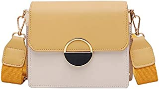 TOOGOO Summer Color Matching Broadband Female Bag New Wild Single Shoulder Messenger Bag Fashion Scarf Small Square Bag Yellow