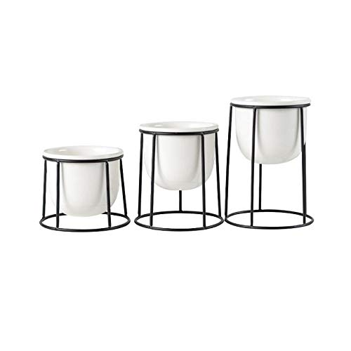 LZCR Set von 3 Stück modernen Pflanzgefäß mit Gold Schwarz Eisen Regal Sukkulenten Blumentopf Desktop Flowerpot Metallständer Fairy Garden Decor-White
