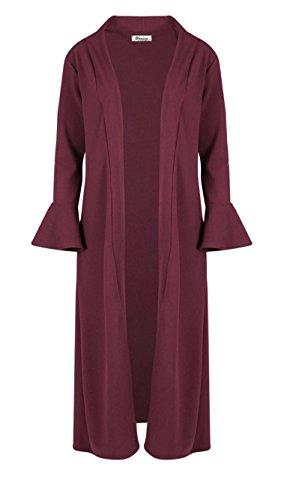 GirlzWalk Women Ladies Crepe Ruffle Frill Long Sleeve Open Front Cardigan Duster Coat (Wine, UK ML (US 8-10))