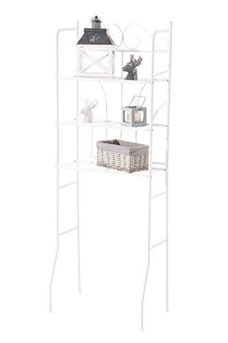 CLP Überbau-Regal Pinar, Eisen Badregal ca. 60 x 35 cm, Höhe 165 cm, 3 Böden, Landhaus-Stil, Farbe:weiß