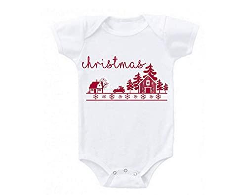 VJSDIUD Navidad vacaciones diseño rojo lindo amor bebé regalo bebés body bebé
