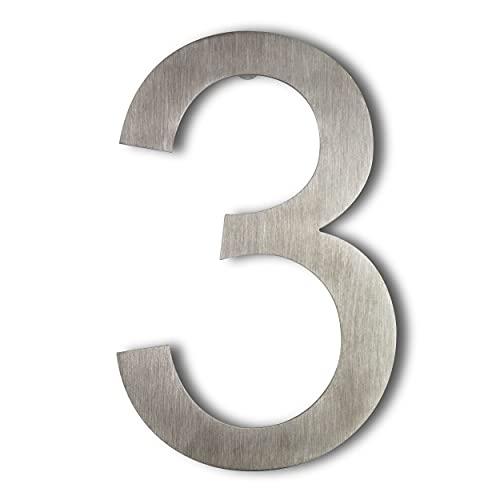 Número de calle en acero inoxidable para atornillar, altura 15,5 cm, número de casa, número de puerta de diseño (3)